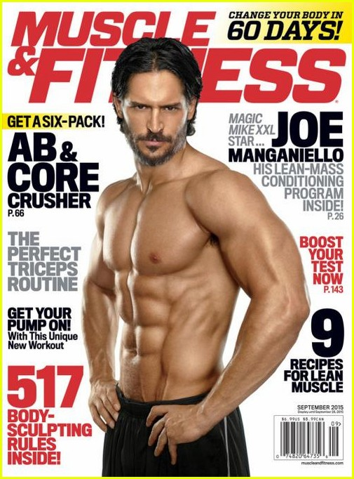 joe manganiellos abs are front center on muscle fitness cover 033445917