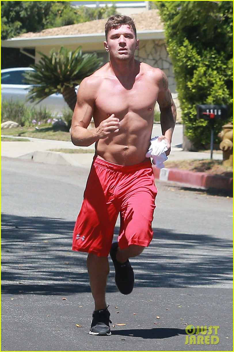 ryan phillippe goes on a shirtless jog bares super fit