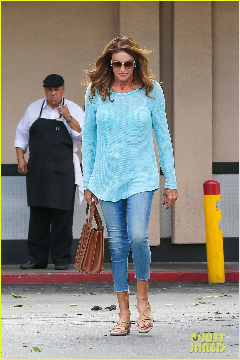 caitlyn jenner puts her bra on display in a sheer sweater 053461897