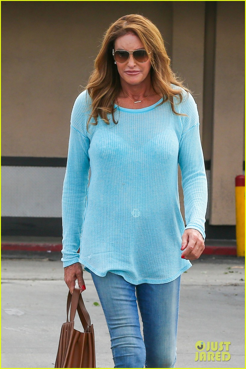 caitlyn jenner puts her bra on display in a sheer sweater 143461906