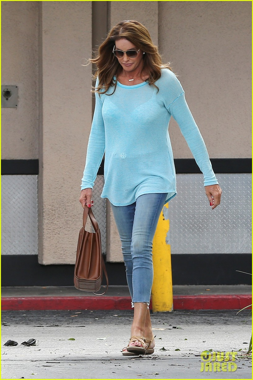 caitlyn jenner puts her bra on display in a sheer sweater 293461921