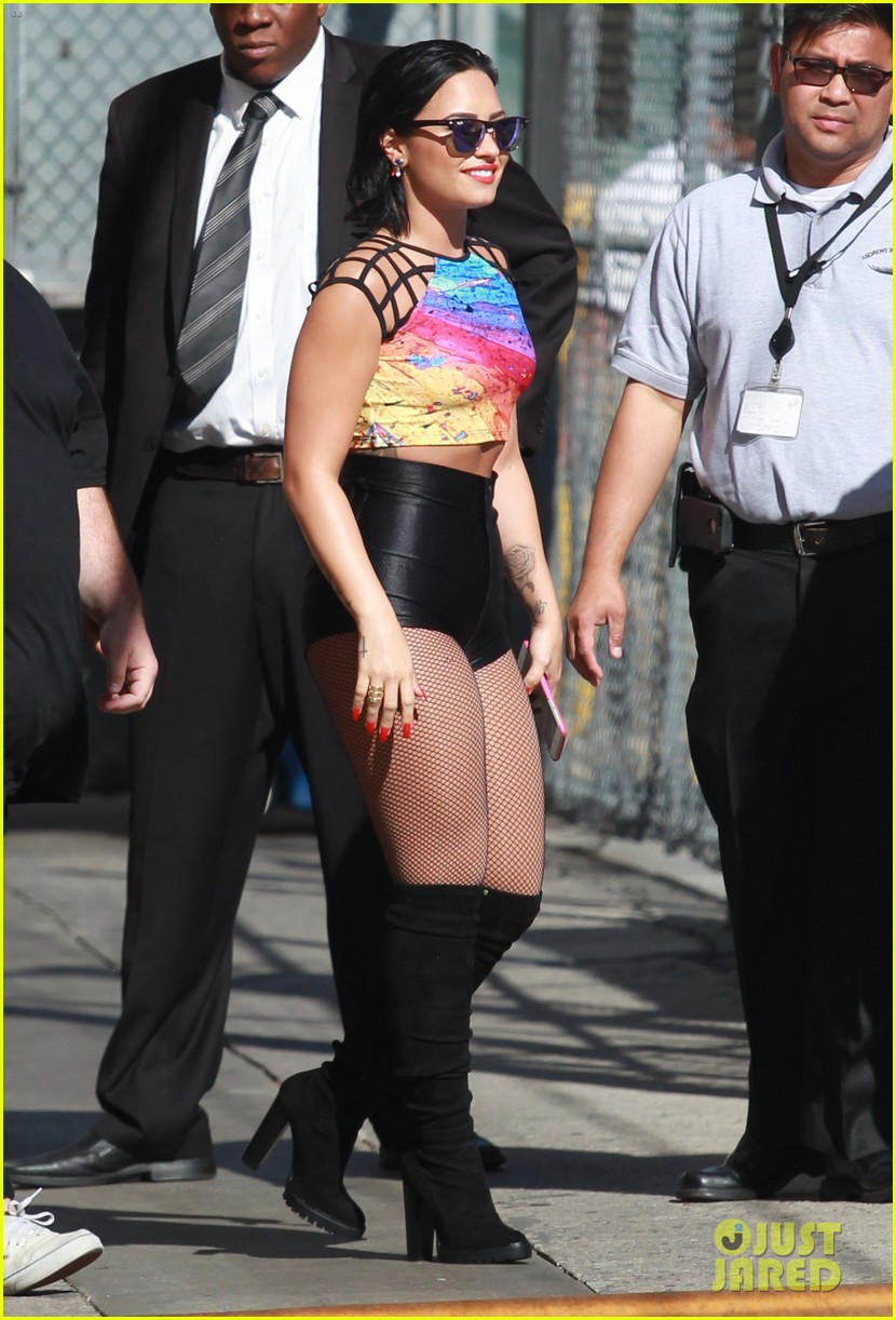 demi lovato performs cool for the summer neon lights on jimmy kimmel live 163450384
