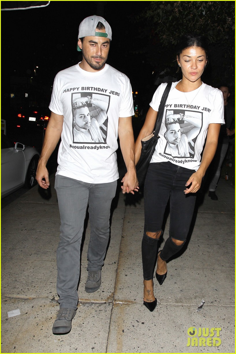 Jessica Szohr Boyfriend Scotty McKnight Wear Matching Shirts At Friends Birthday Party