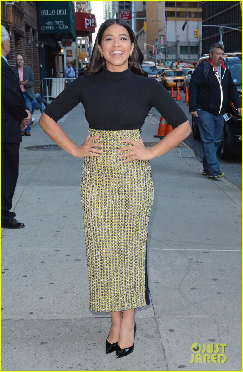 gina rodriguez stephen colbert nyc appearance 033479439