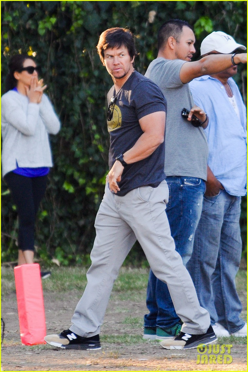 mark wahlberg cheers on his son at soccer game photo