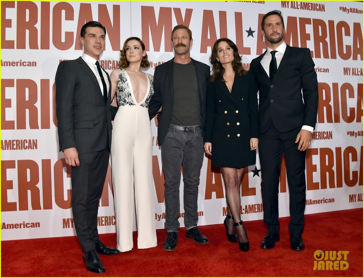 finn wittrock gets support from ahs co stars at my all american premiere 023504802