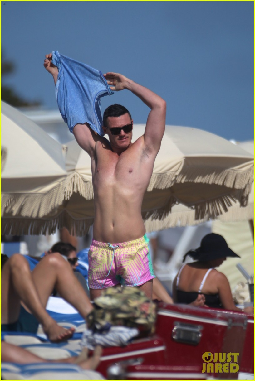 Luke Evans Shows Off Nipple Piercings While Shirtless In