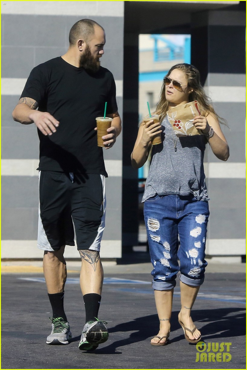 Ronda Rousey Stays Casual For Coffee Run With Travis