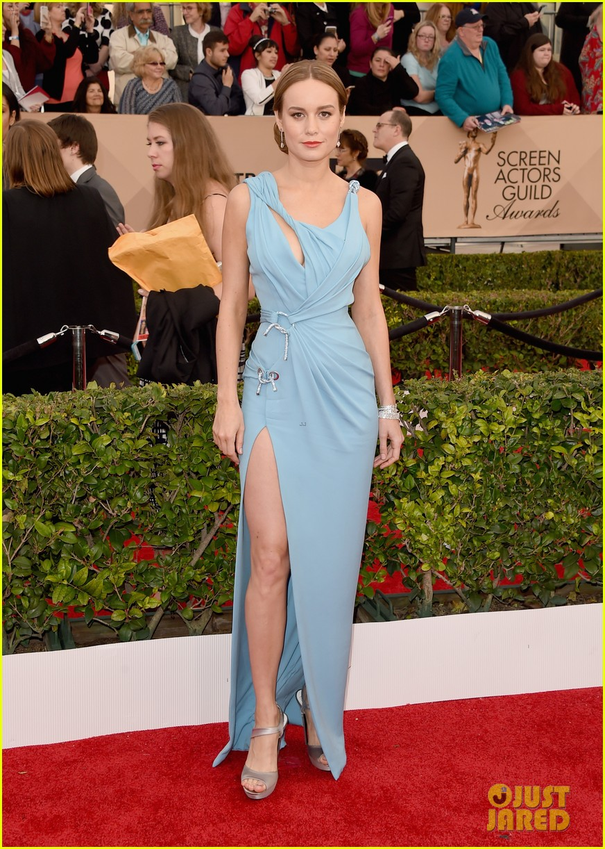 Brie Larson Steps Out In Baby Blue Versace At Sag Awards