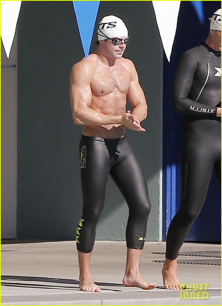 zac efron goes shirtless for baywatch swimming lessons 243557861