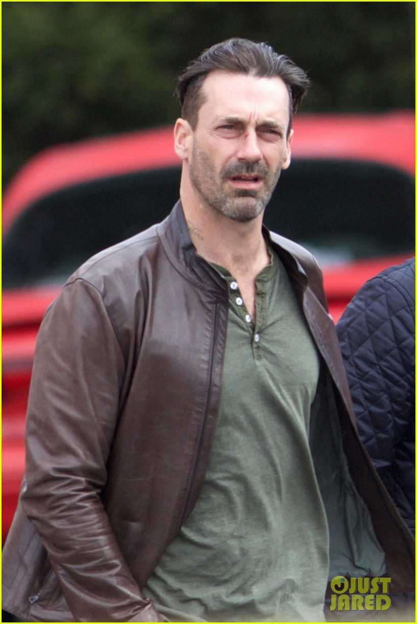 Jon Hamm Shows Off New Haircut While Filming a Movie ...