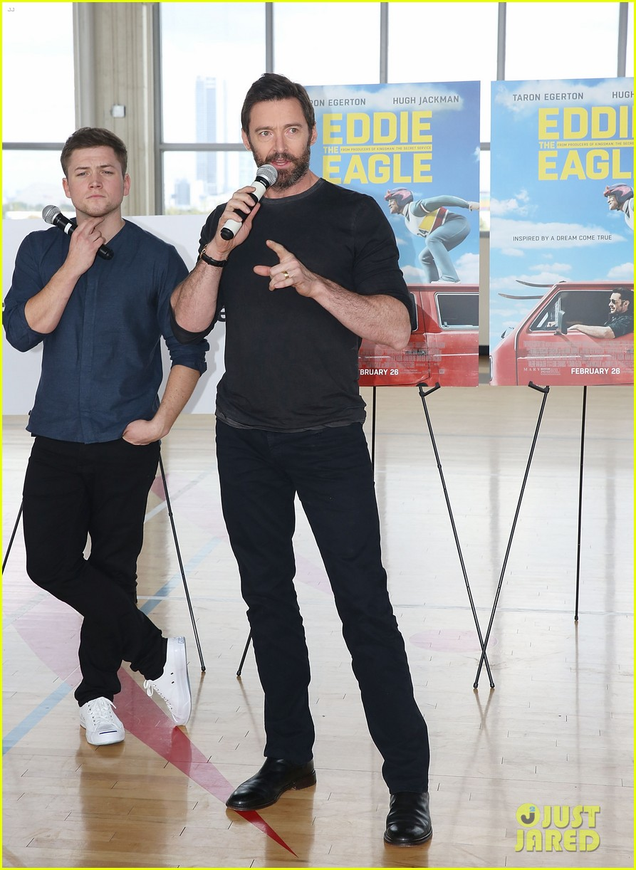 hugh jackman says co star taron egerton is miraculous in eddie the eagle 203583446