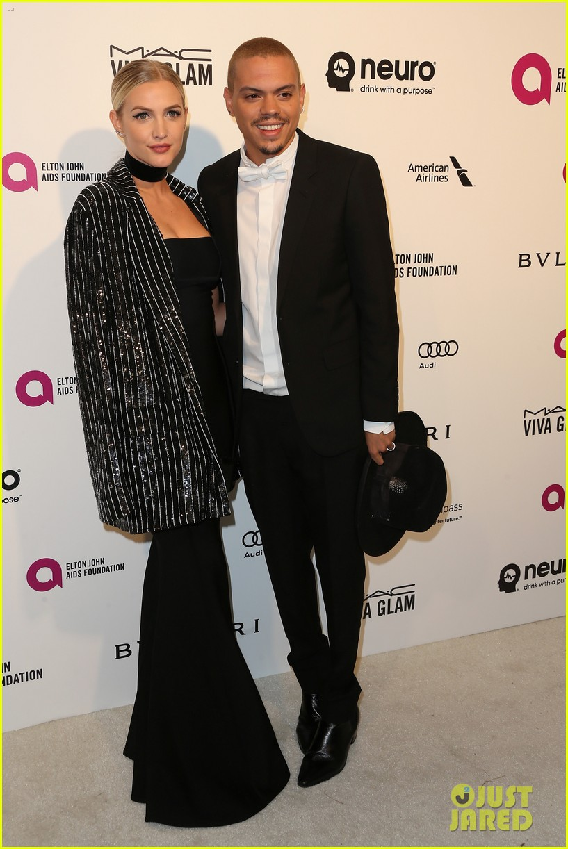ashlee simpson evan ross couple up at elton johns oscar party 253593357