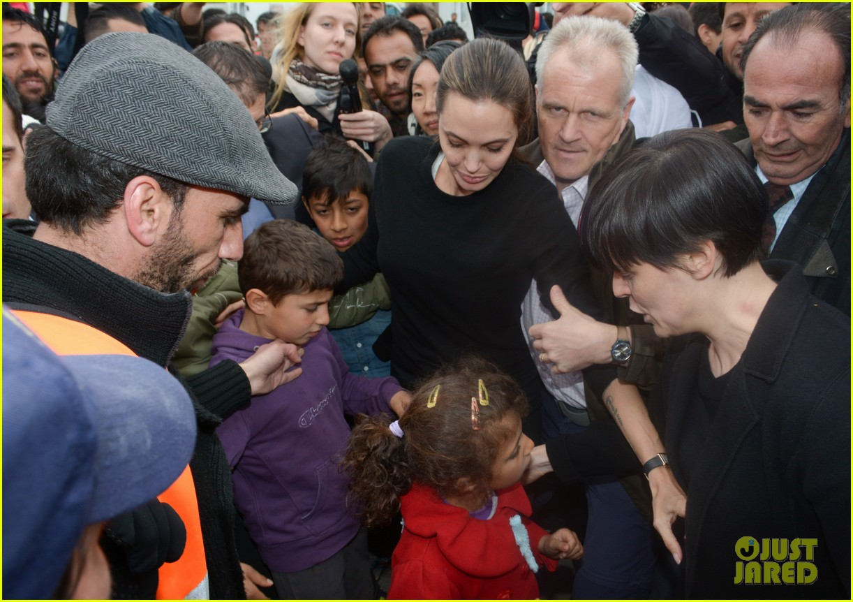 Angelina Jolie Meets With Young Children At Greece Refugee Camp