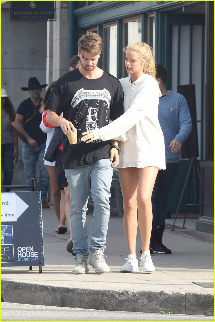 patrick schwarzennger spends the day with blonde model friend abby