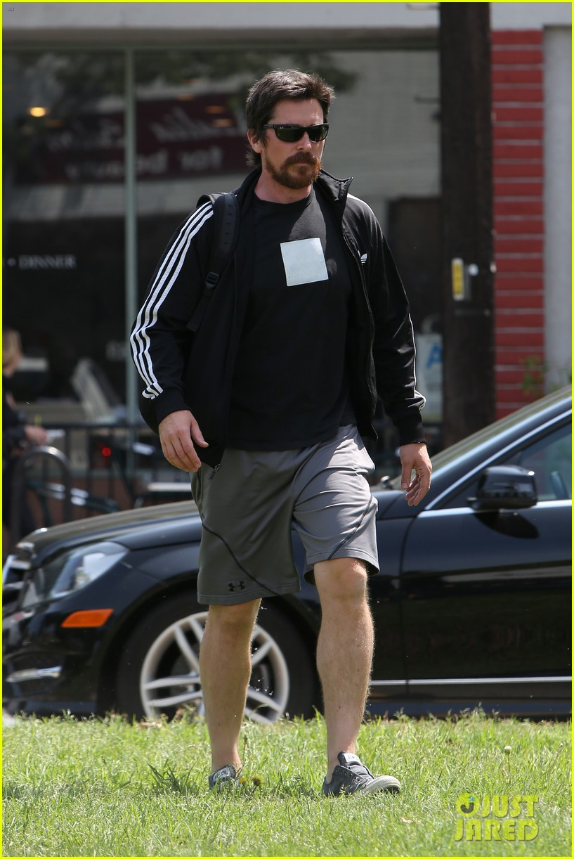 christian bale steps out in his workout gear for a meeting 053632301
