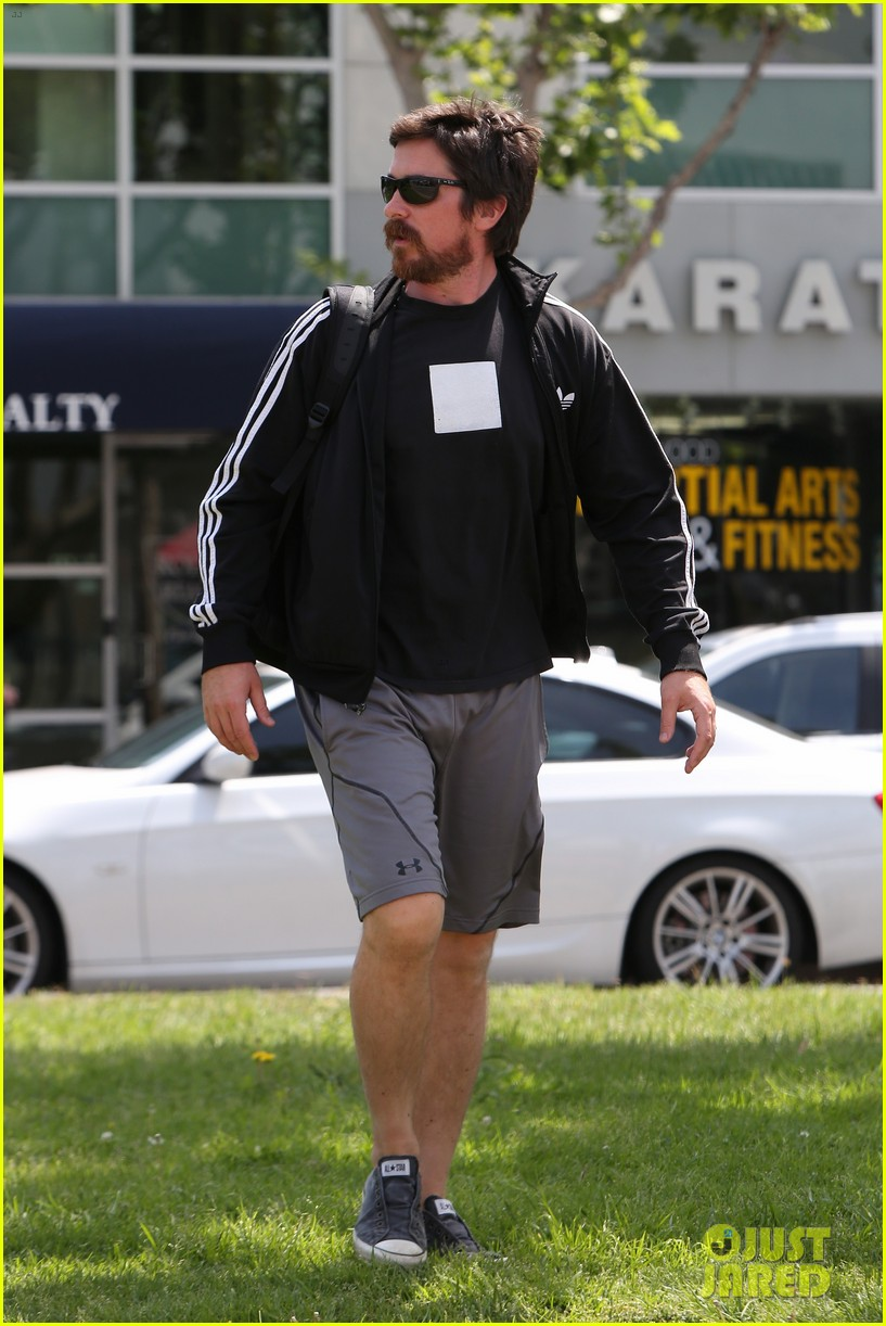 christian bale steps out in his workout gear for a meeting 223632318
