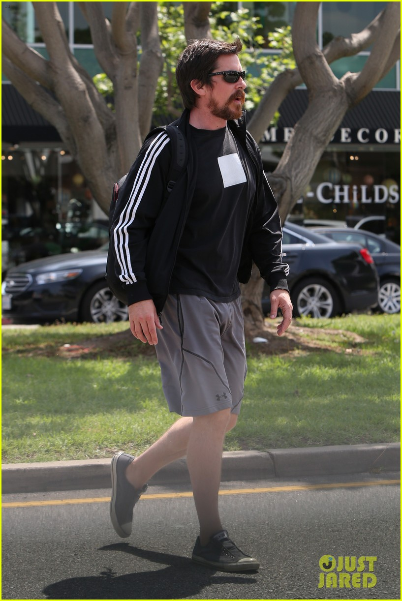 christian bale steps out in his workout gear for a meeting 233632319