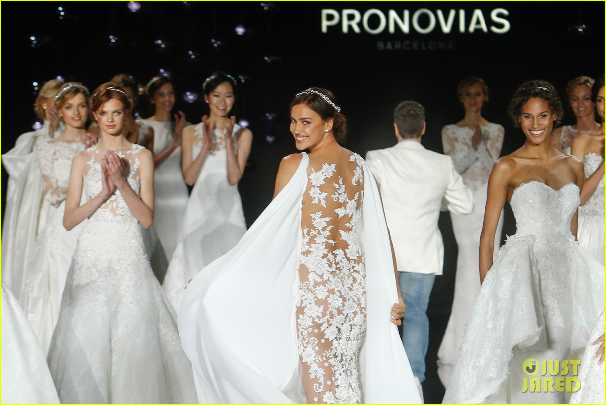 Irina Shayk Models Wedding Dresses for Barcelona Bridal Week: Photo ...