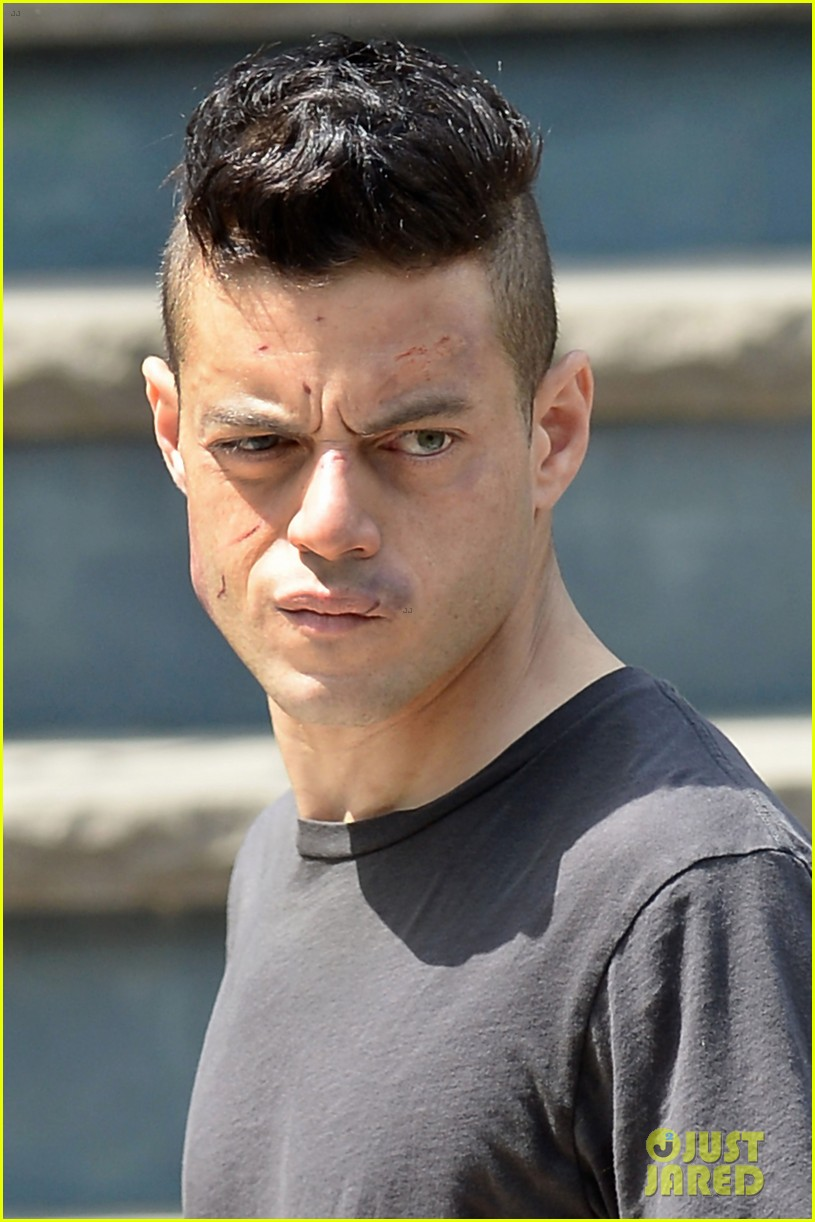 Rami Malek Looks A Little Beat Up While Filming 'Mr. Robot