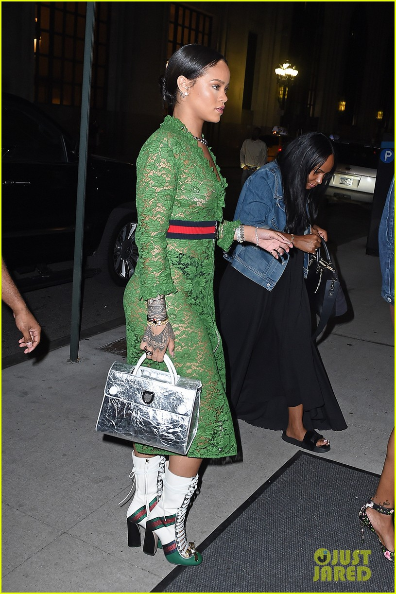 rihanna wears sheer dress with no bra in nyc  photo