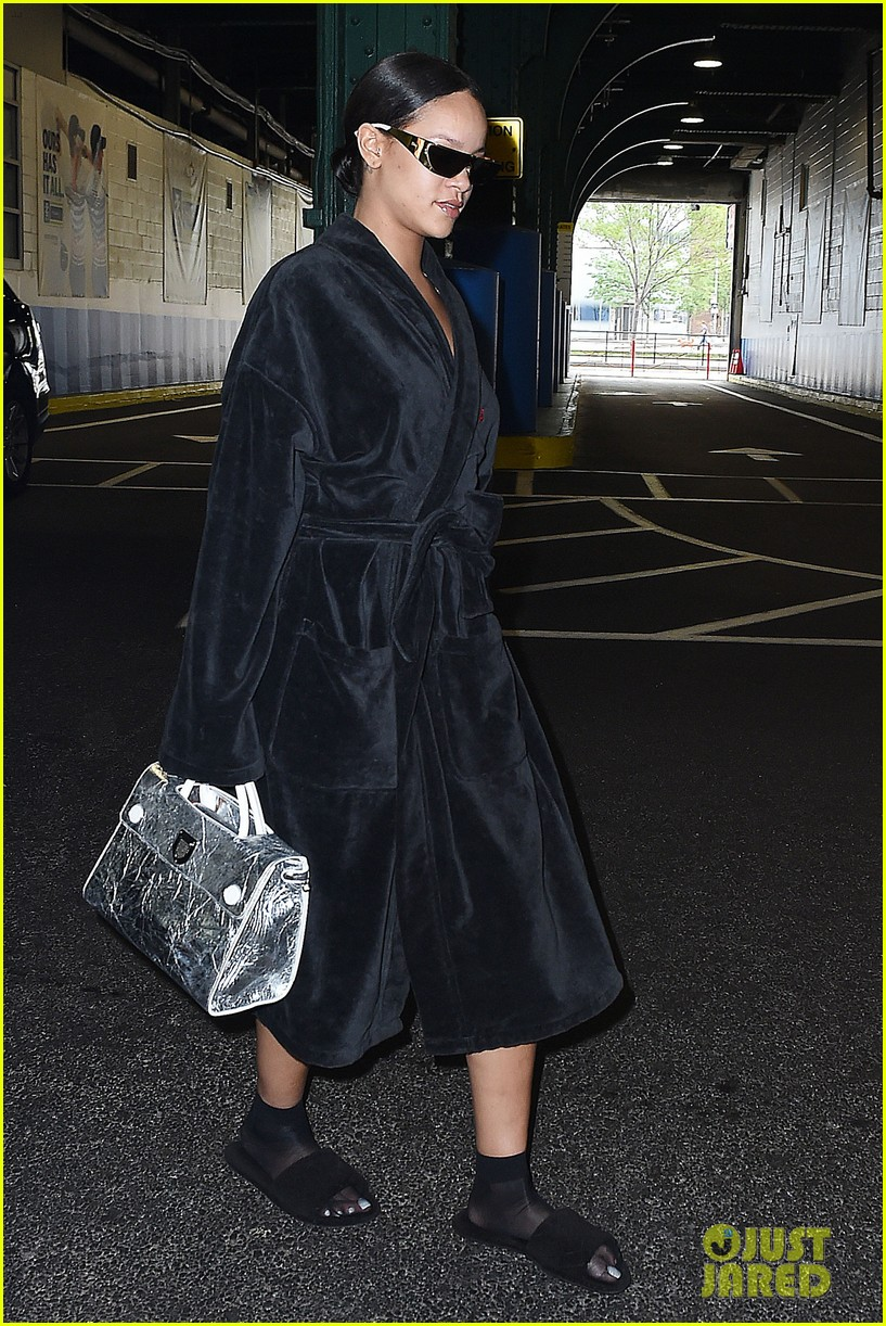 rihanna steps out in robe flip flops after a photo shoot 053667425