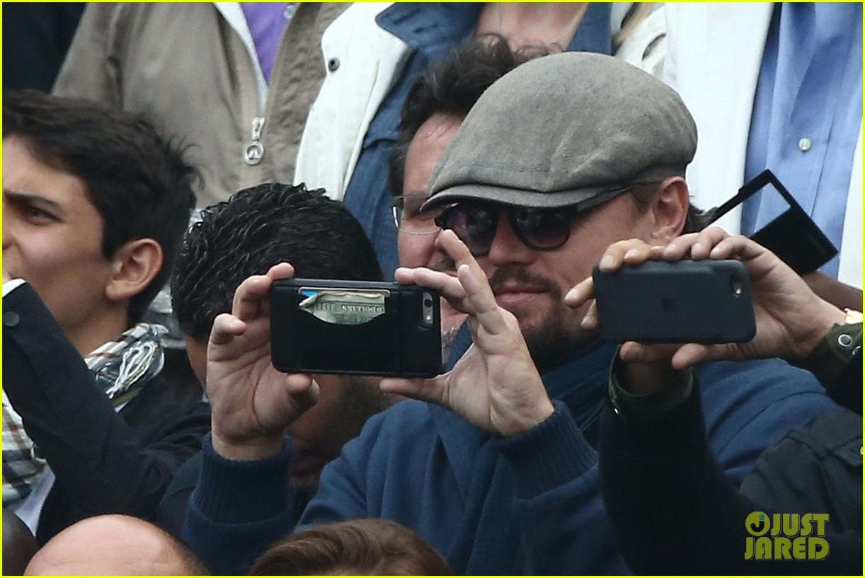 Leonardo DiCaprio Snaps Photos in the Stands at French Open Finals Leonardo Dicaprio