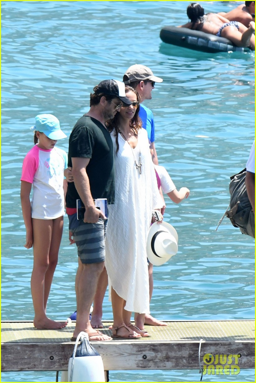 gerard butler girlfriend morgan brown romantic boat ride in italy 143706590