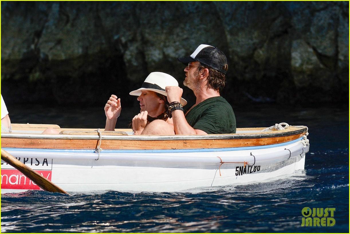 gerard butler girlfriend morgan brown romantic boat ride in italy 173706593