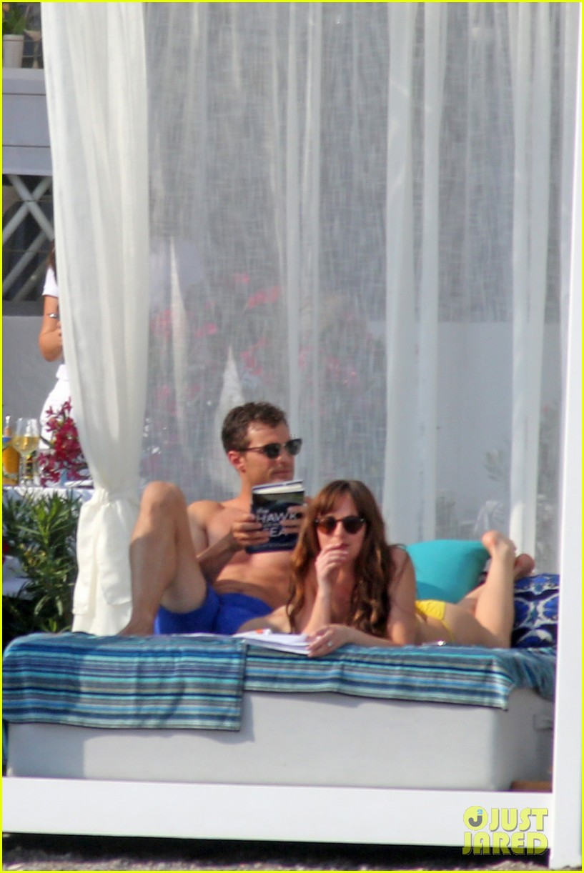 jamie dornan dakota johnson shirtless bikini fifty shades freed honeymoon 113704232