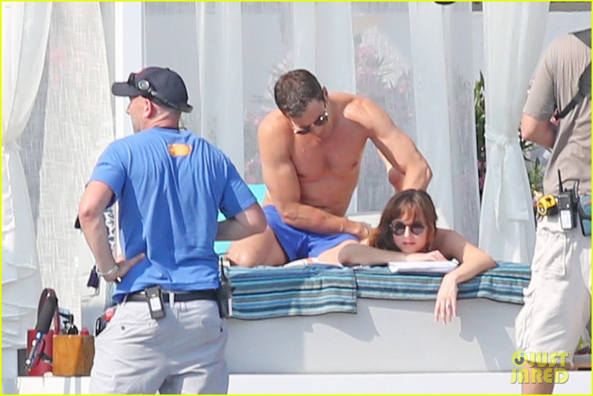jamie dornan dakota johnson shirtless bikini fifty shades freed honeymoon 163704237