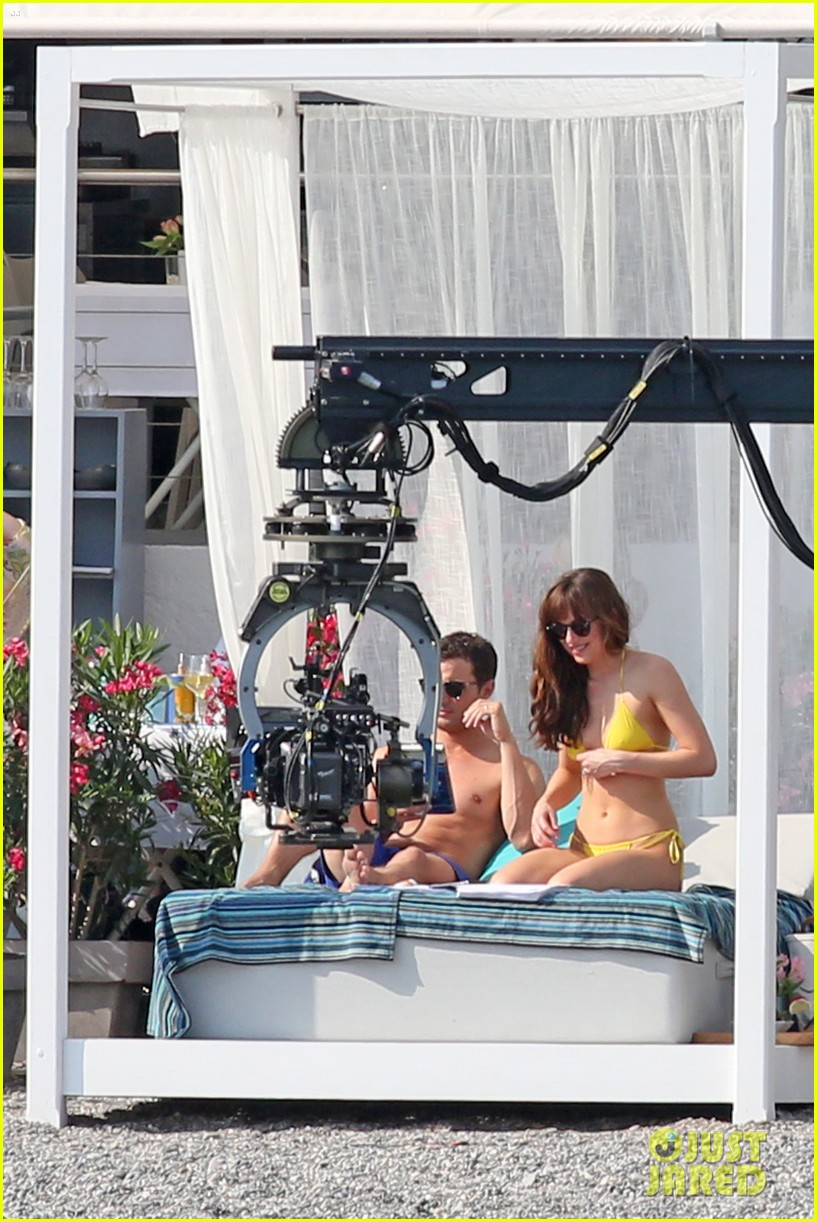 jamie dornan dakota johnson shirtless bikini fifty shades freed honeymoon 213704242