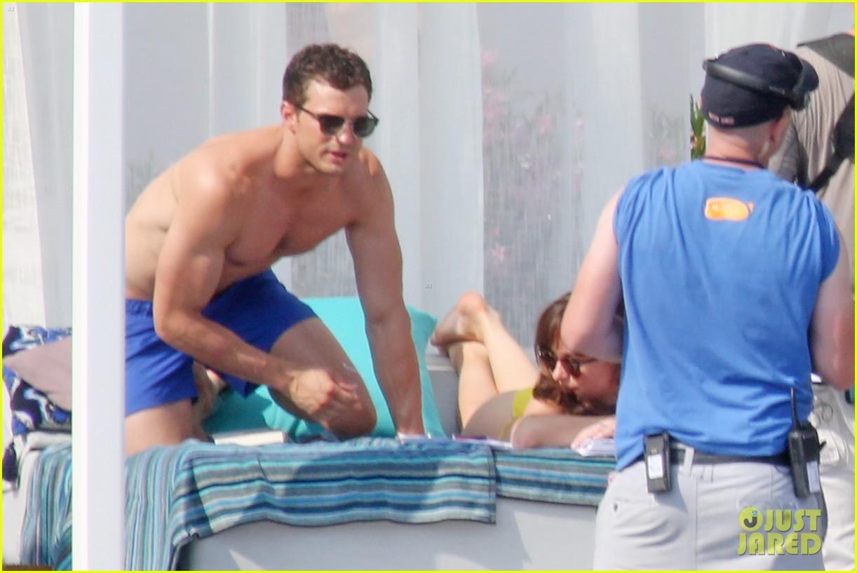 jamie dornan dakota johnson shirtless bikini fifty shades freed honeymoon 253704246