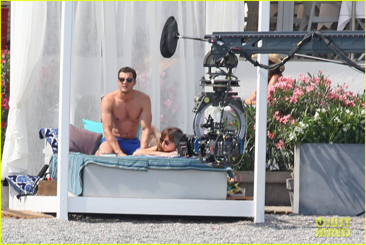 jamie dornan dakota johnson shirtless bikini fifty shades freed honeymoon 303704251
