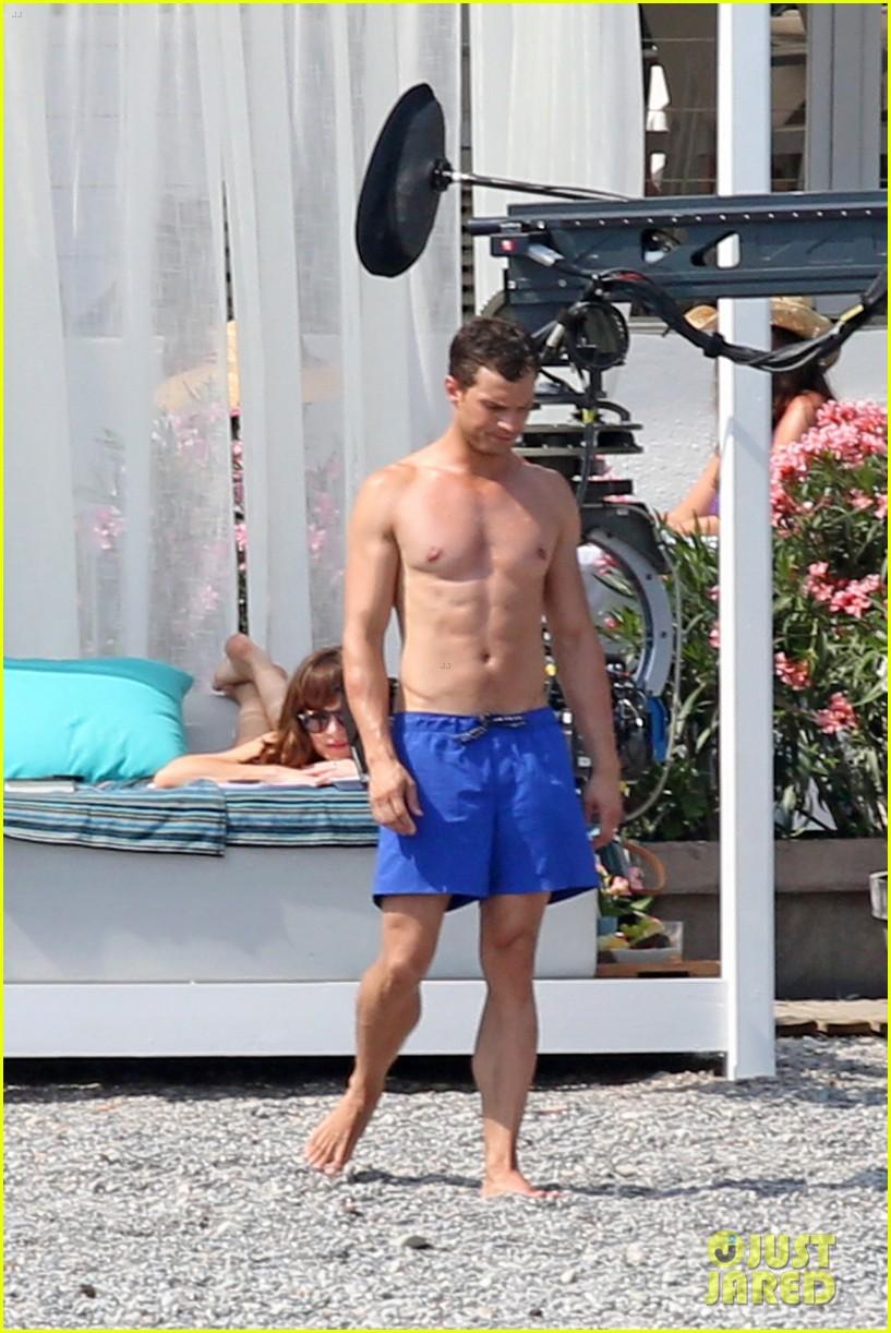 jamie dornan dakota johnson shirtless bikini fifty shades freed honeymoon 313704252