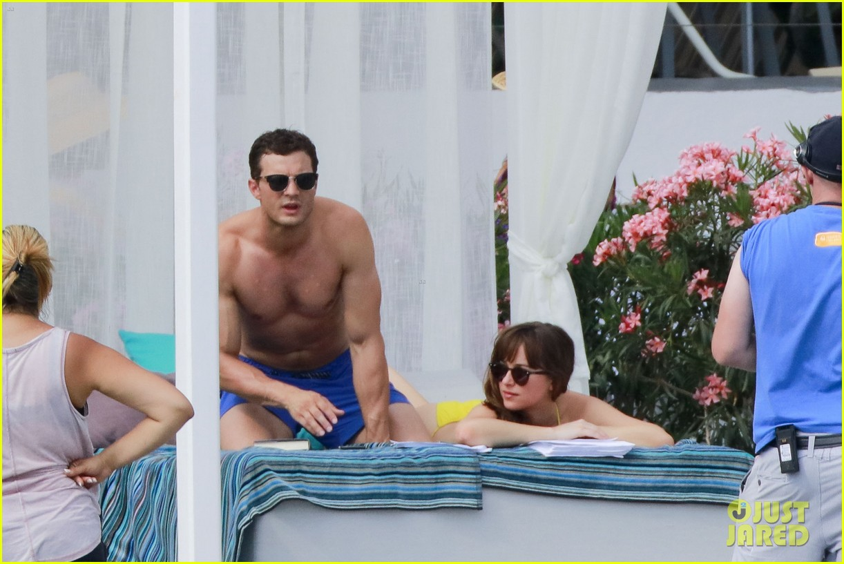 jamie dornan dakota johnson shirtless bikini fifty shades freed honeymoon 353704256