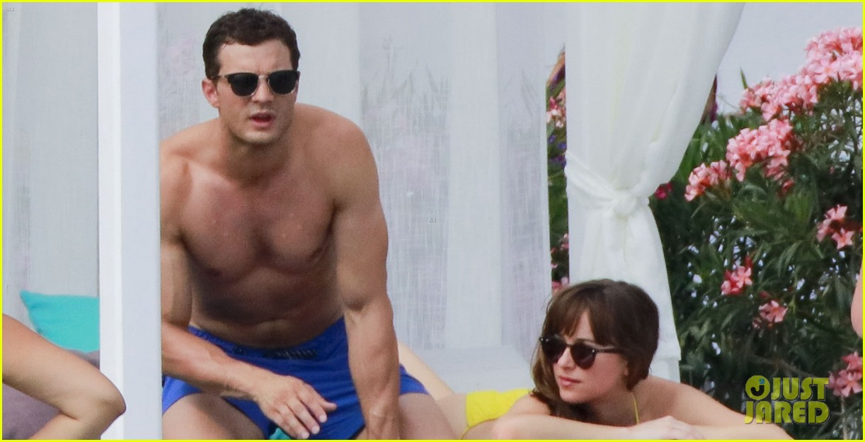 jamie dornan dakota johnson shirtless bikini fifty shades freed honeymoon 403704261