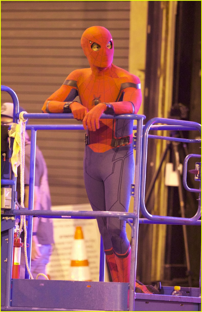 Tom Holland Suits Up On The Set Of Spider Man Homecoming