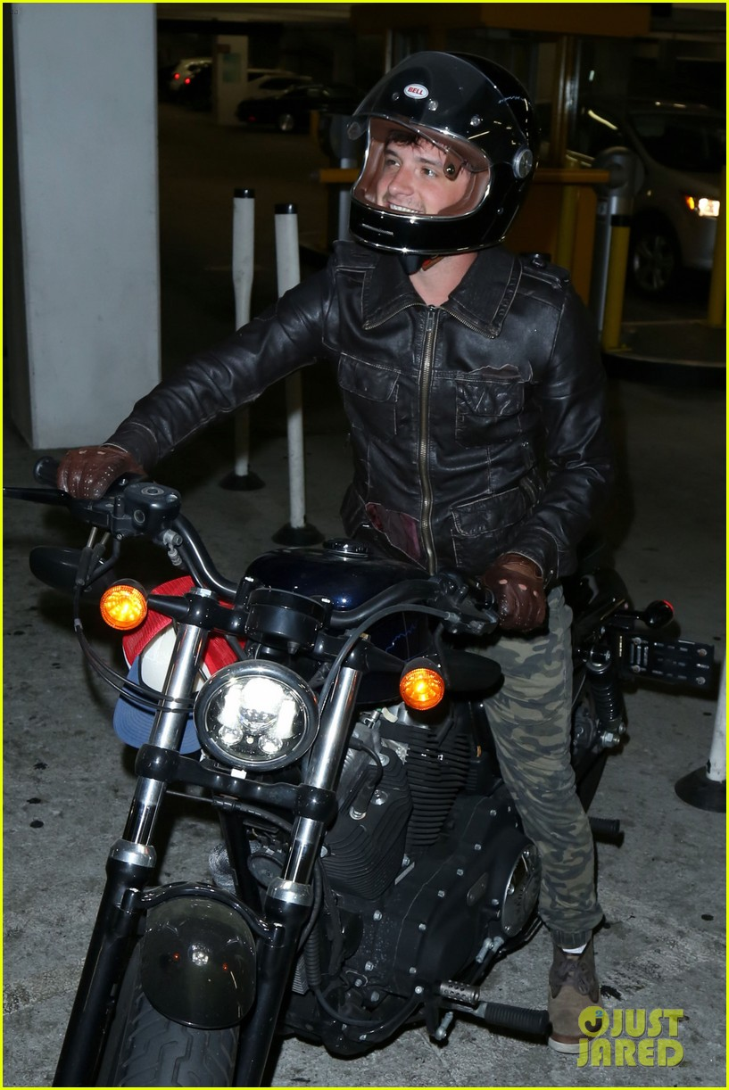 Josh Hutcherson Rides His Motorcycle to the Movies: Photo ...