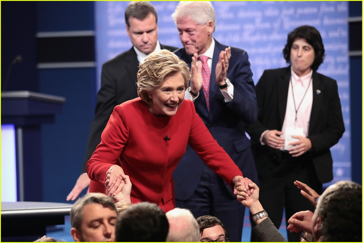hillary clinton donald trump joined by families on stage at debate 013770861