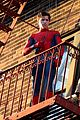 tom holland performs his own spider man stunts on nyc fire escape 05