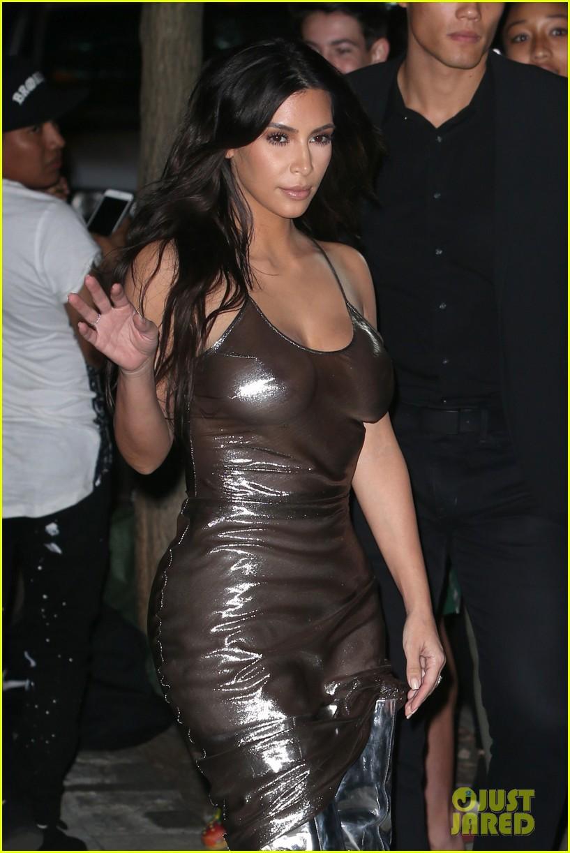Kim Kardashian Wears Shiny Skin Tight Dress For Kanye West