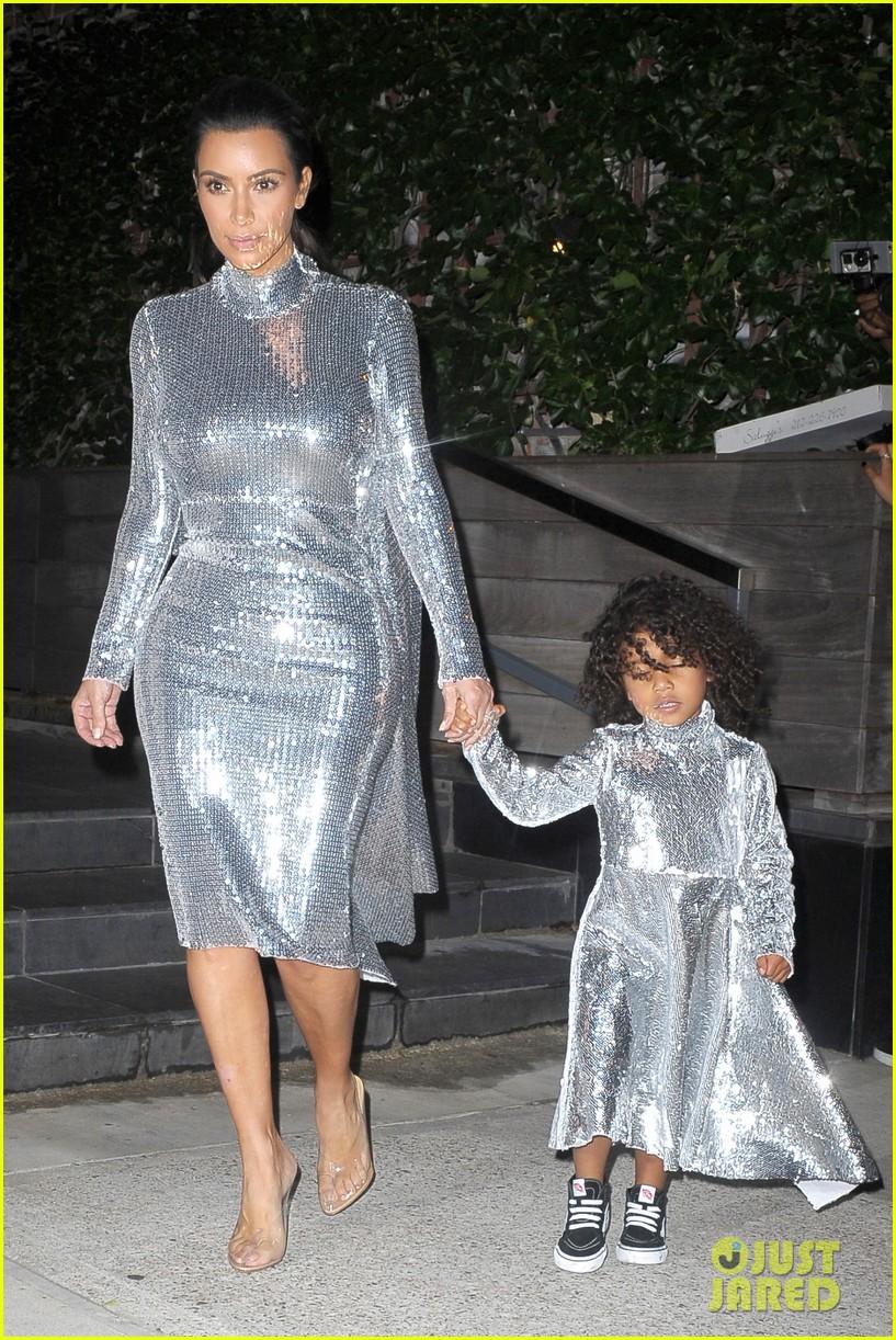 Kim Kardashian & North West Wear Matching Dresses for Kanye\'s NYC ...
