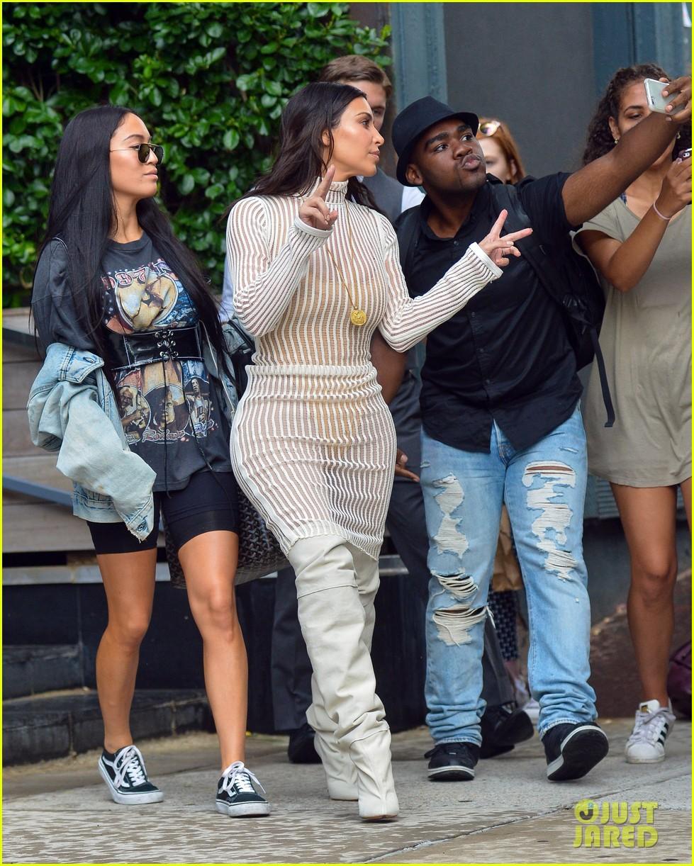 48ca72e434ac5 Kim Kardashian Steps Out in Style for Kanye West s  Yeezy  Season Four  Fashion Show