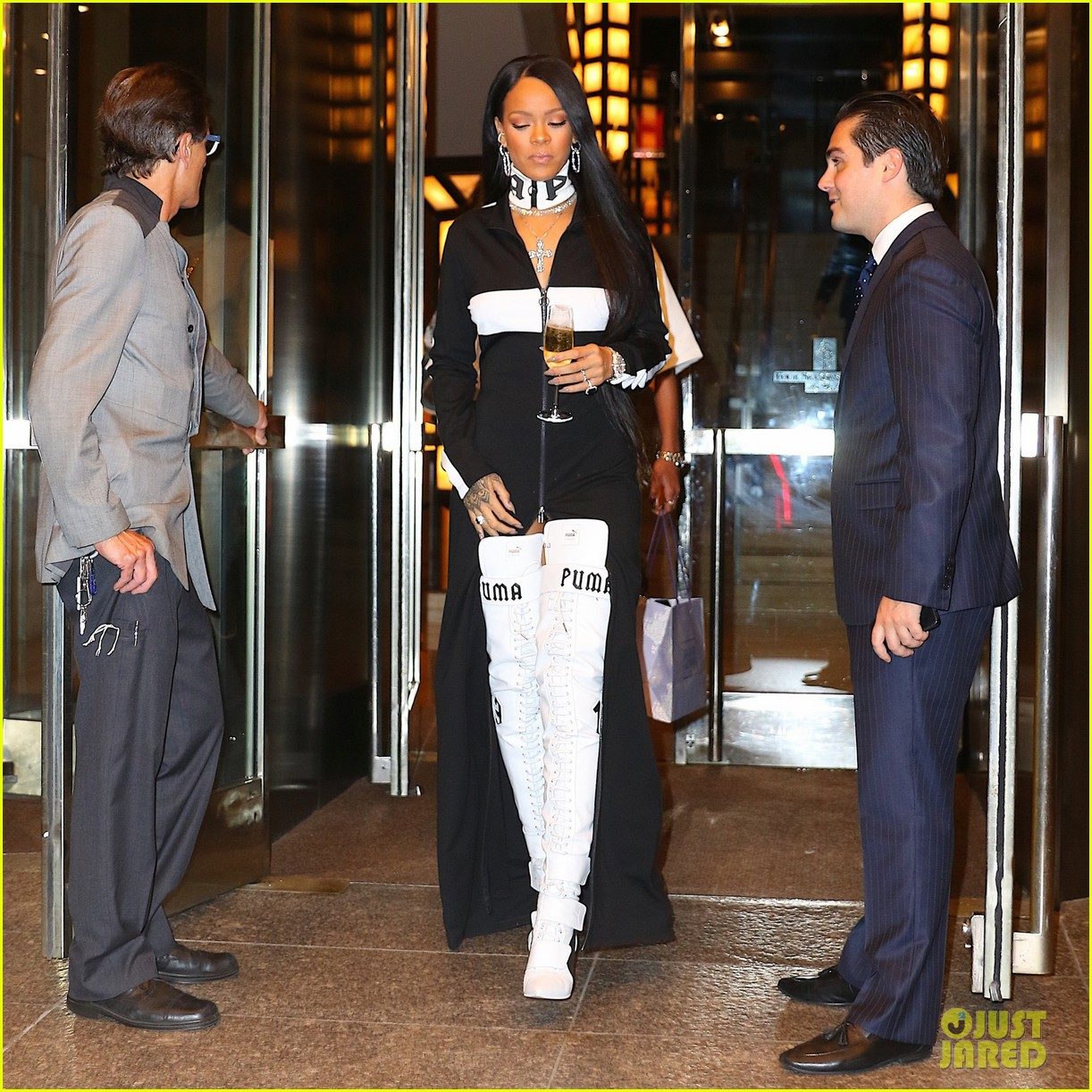 Rihanna Leaves Her Pop-Up Shop with Champagne in Hand  Photo 3751011 ... 43a788f2c409