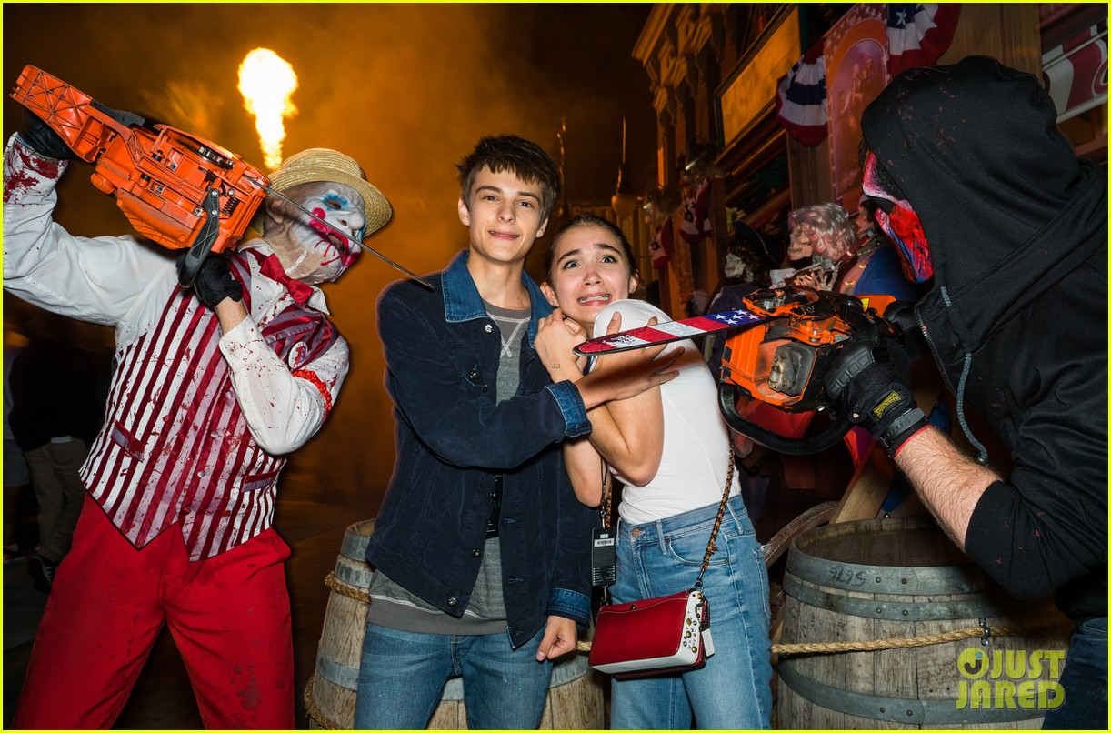 bella thorne tyler posey couple up at halloween horror nights 033777705