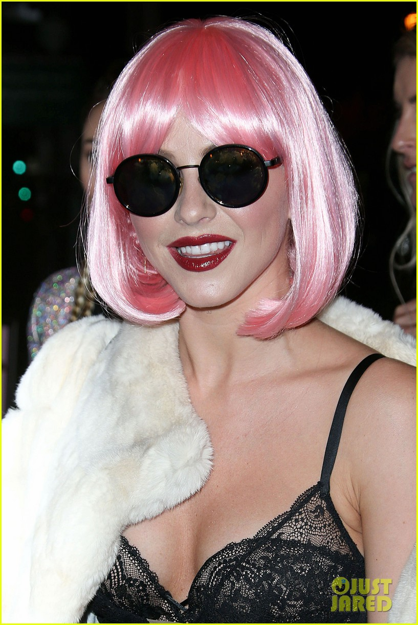 julianne hough wears a pink wig for early halloween costume