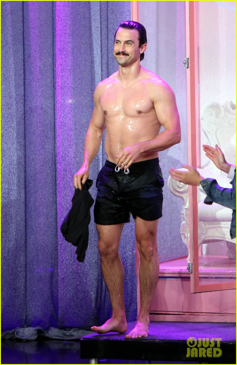 milo ventimiglia shirtless dunk tank ellen 01