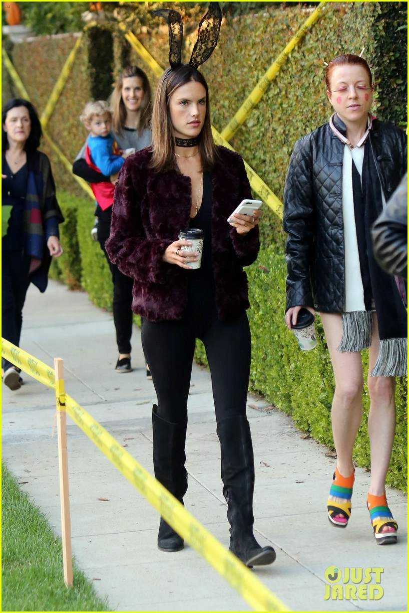alessandra ambrosio wears bunny ears while trick or treating 033799649