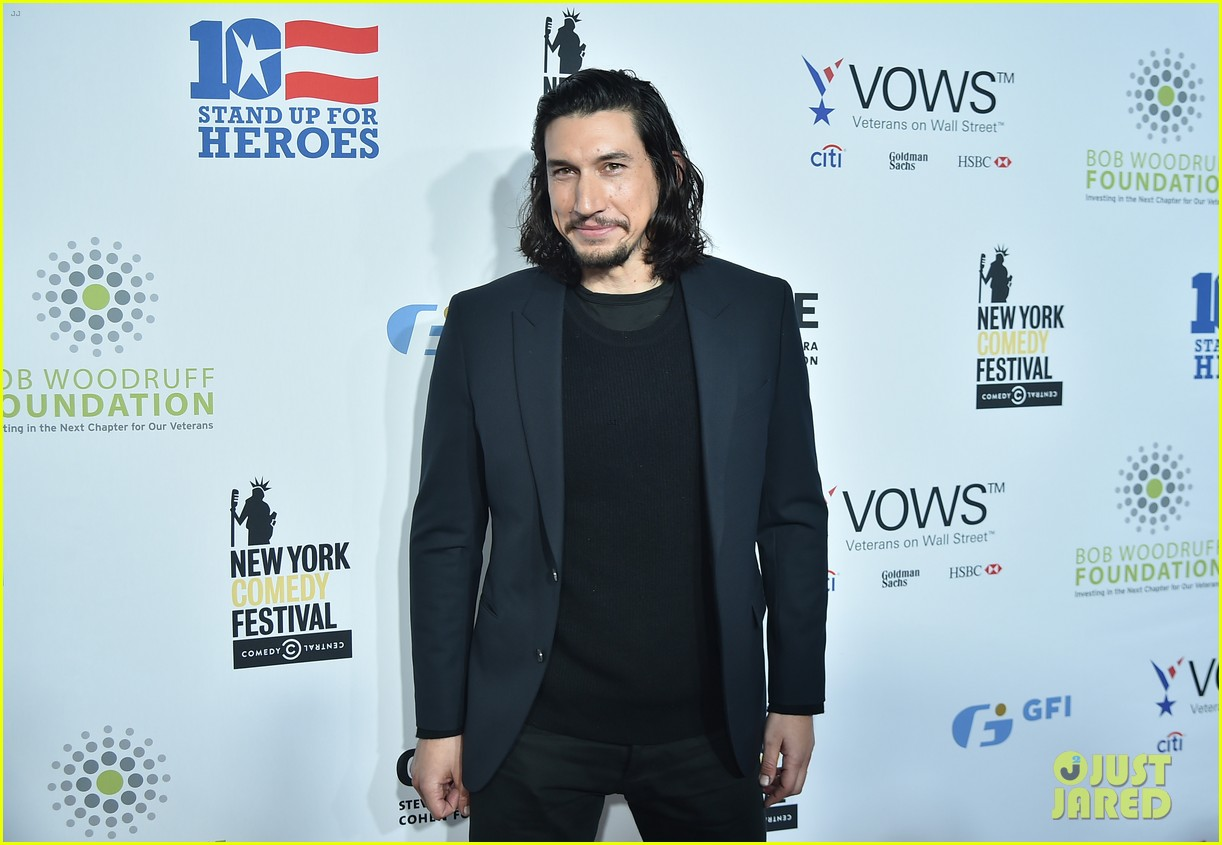 adam driver watches jon stewart roast donald trump at stand up for heroes 043800022